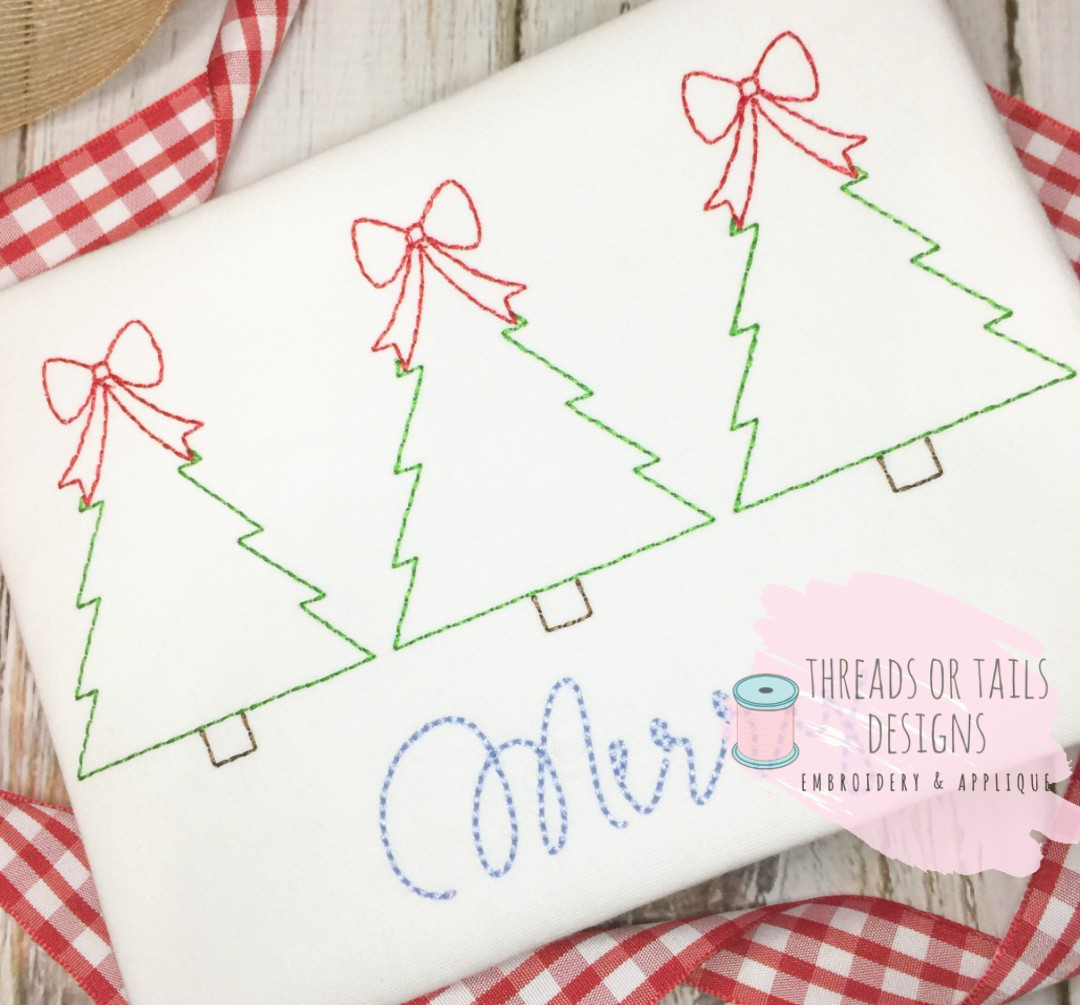 Christmas Tree Trio: Christmas Tree With Bow Trio Bean Stitch