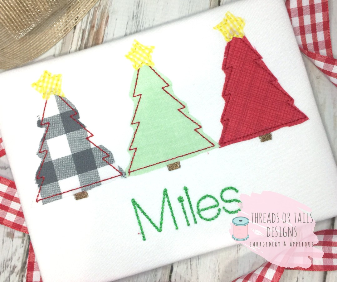 Christmas Tree Trio: Christmas Tree With Star Trio Bean Stitch